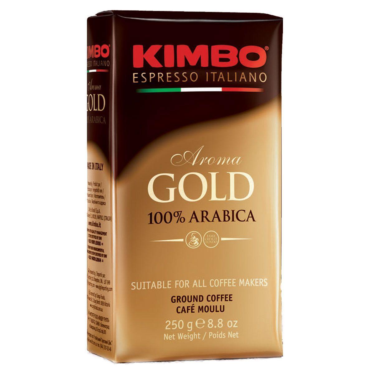 Кофе молотый  KIMBO AROMA GOLD 100% ARABICA , 250 грамм.  Италия