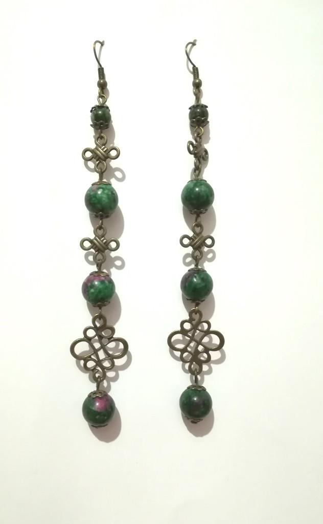 Серьги из Цоизита длинные, натуральный камень, бронза, цвет зеленый и его оттенки, тм Satori \ 063