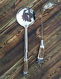 Комплект шумовка/половник  из нержавеющей стали с рукоятью из рога. Ручная работа. Шахрихан/Узбекистан, фото 4