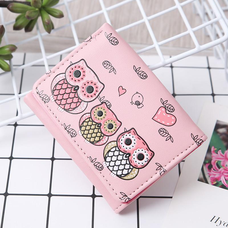 Кошелек розовый с совами