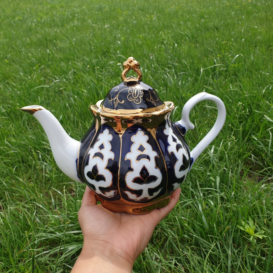 Узбекский чайник Пахта Фарфор. 1л, эконом