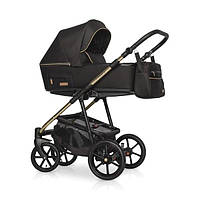 Дитяча коляска Riko Swift Premium 11 Gold (Чорна на золотій рамі)