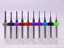 Набор фрез 0.4, 0.5, 0.8, 0.9, 1.2, 1.3, 1.4, 1.5, 1.6, 1.8 мм.  из вольфрамовой стали для гравировки на ЧПУ