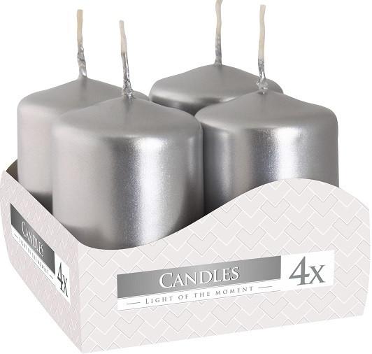 Свічка циліндр срібна Bispol 6 см 4 шт (sw40/60-271)