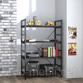 Стелаж низький для дому чи офісу L-125 Loft Design Чорний Матовий / Венге Корсика