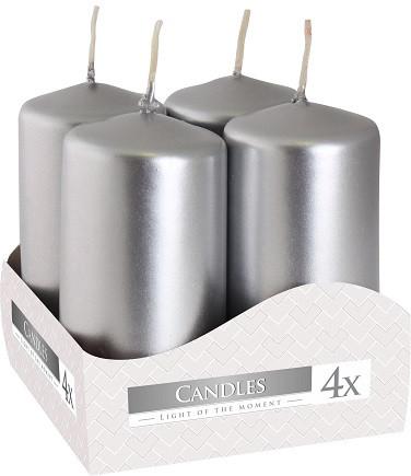 Свеча цилиндр серебряная Bispol 8 см 4 шт (sw40/80-271)
