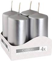 Свічка циліндр срібна Bispol 8 см 4 шт (sw40/80-271)