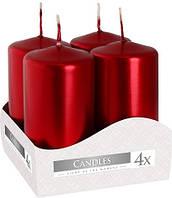 Свеча цилиндр красный металлик Bispol 8 см 4 шт (sw40/80-230)