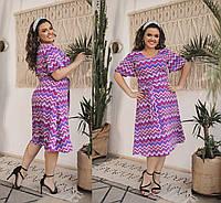 Женское летнее шифоновое платье большого размера.Размеры:48-58.+Цвета, фото 1