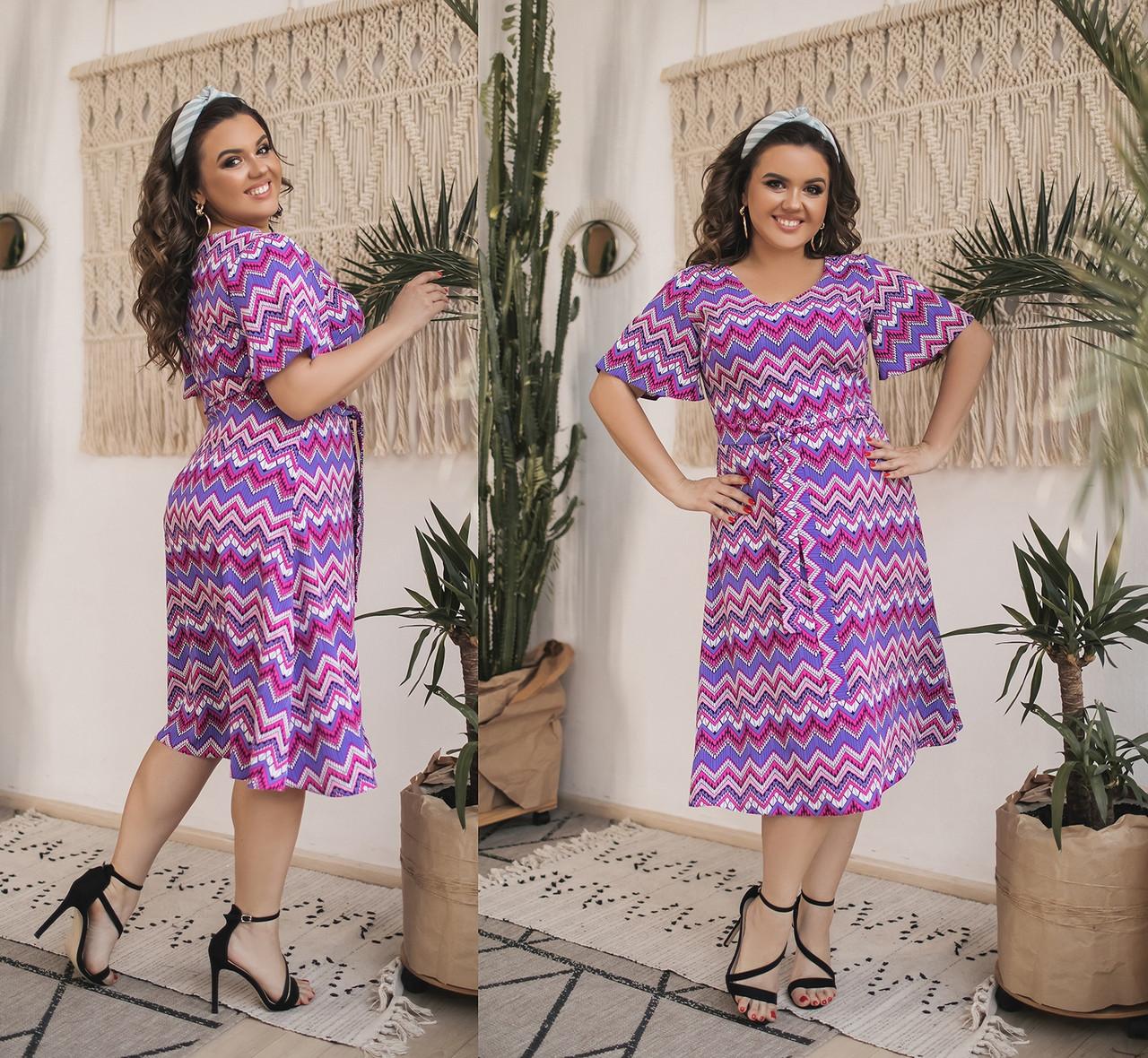 Женское летнее шифоновое платье большого размера.Размеры:48-58.+Цвета