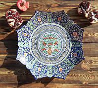 Большое ажурное блюдо авторской росписи d 42 см. Риштан, Узбекистан