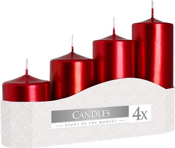 Свеча цилиндр красный металлик Bispol 4 шт (sw50/4-230)