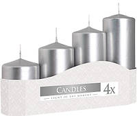 Свеча цилиндр серебряная Bispol 4 шт (sw50/4-271)