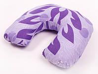 Дорожная подушка Travel Exlusive Фиолетовая с узором Хлопок, фото 1
