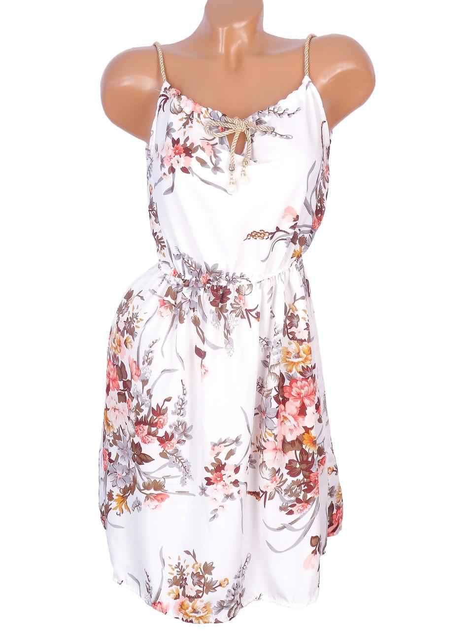 Короткое цветочное платье 42-44р