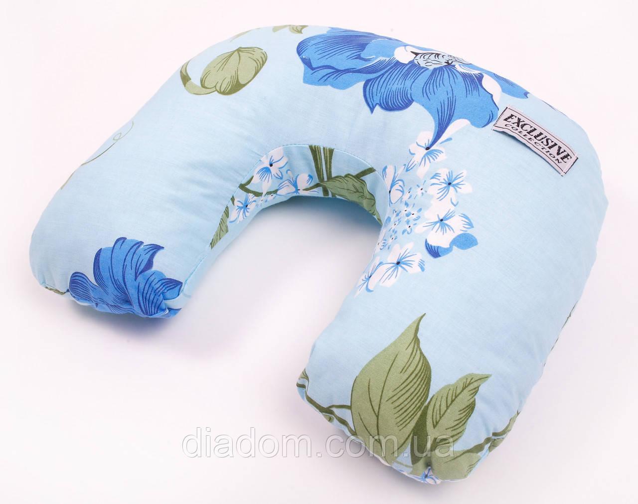 Дорожная подушка Travel Exlusive Голубая с цветами Хлопок