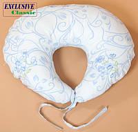 Подушка для кормления, Exclusive Classic, Голубая с узором, фото 1