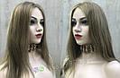 💥Женский русый парик на сетке из натуральных волос, удлинённое каре 💥, фото 2