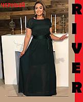 Черное длинное платье из шифона (48-82)