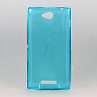 Чехол силиконовый ультратонкий 0,3мм для Sony C2305 голубой