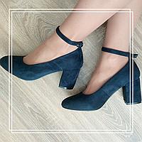 Туфли MeiDeLi 81-1 синяя замша лямка, фото 1