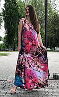 Летнее длинное платье а-силуэта 60 размера