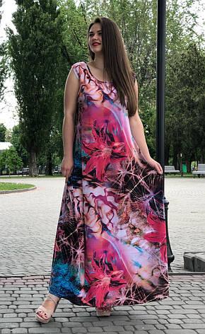 Летнее длинное платье а-силуэта 60-62 размера, фото 2