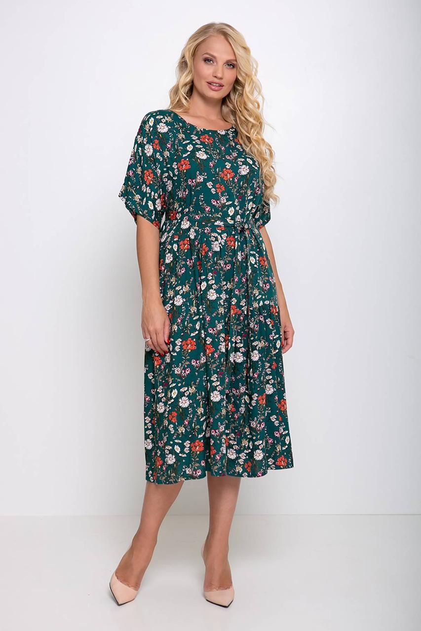 8a461fd0cddf Штапельное платье большого размера 54-60 размера зеленое в цветочек - 💎TM