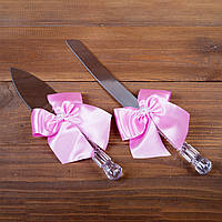 Свадебные приборы для торта с розовыми бантами (арт. CAD-003)