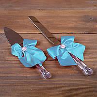 Свадебные приборы для торта с голубыми бантами (арт. CAD-008)