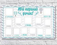 Плакат 12 місяців воздушные шары голубой 75х120 см (укр)