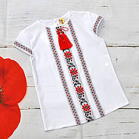 Белая блузка вышиванка с коротким рукавом 116-164р, фото 1