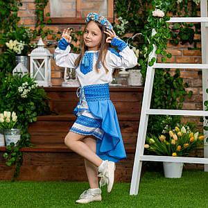 Голубое платье с баской для девочки Украиночка