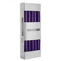 Свеча коническая фиолетовая  Bispol 24,5 см 10 шт (s30-040)