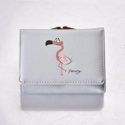 Кошелек серый с изображением фламинго