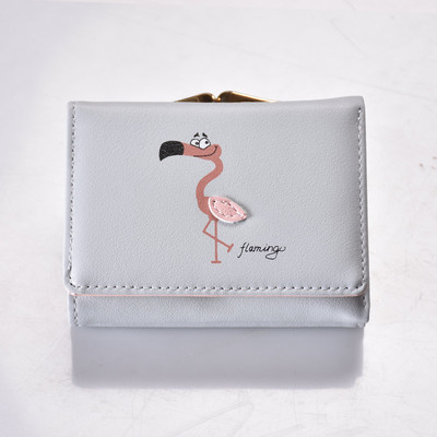 Серый кошелек с изображением фламинго