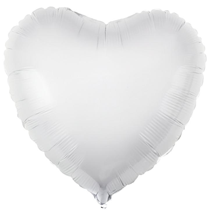Agura Фольгированный Шар 19''/48 см, Сердце, Белый