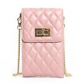 Женский кожаный клатч на цепочке розовый 03-1 1038 pink