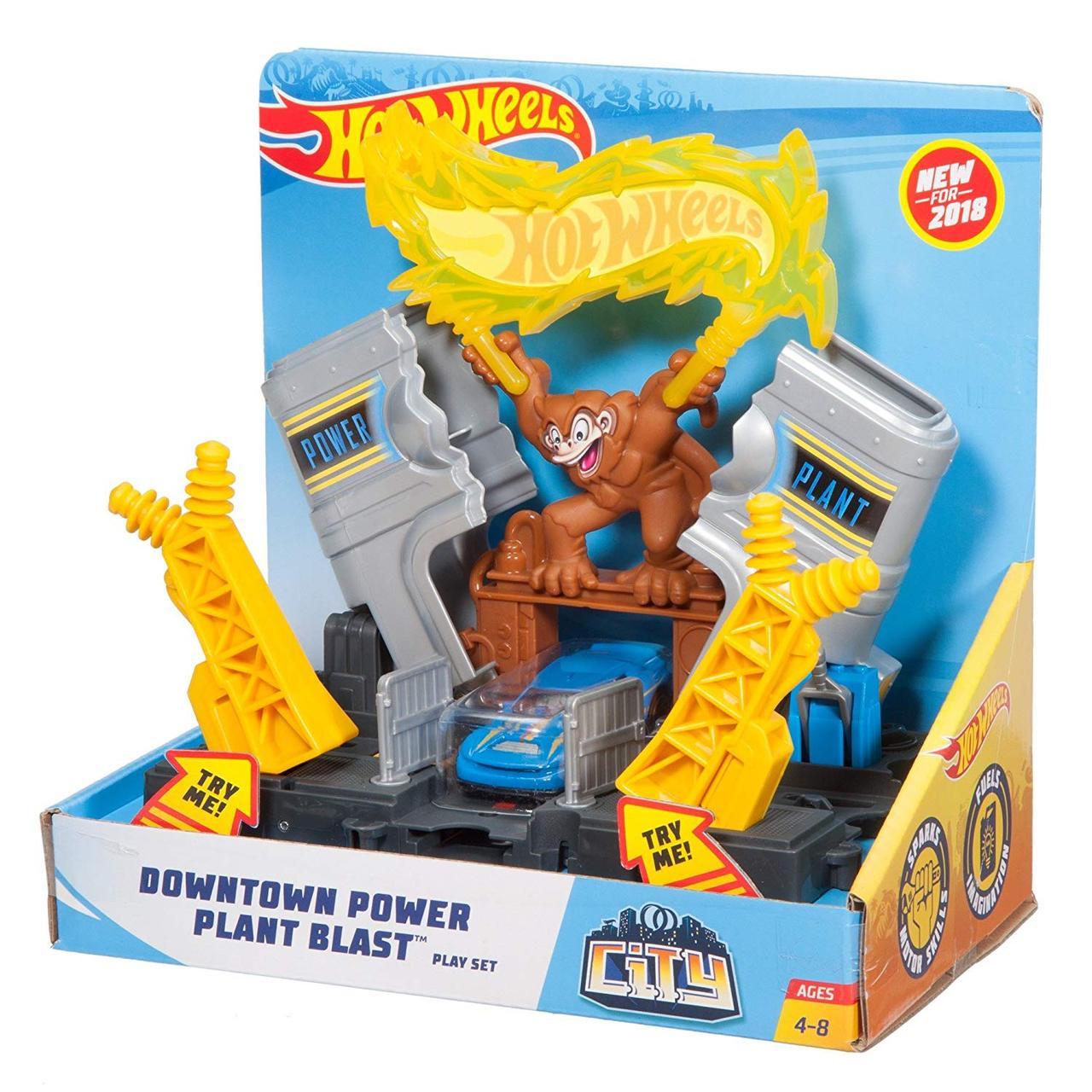 Игровой набор Взрыв на электростанции Hot Wheels City Downtown Power Plant Blast Playset