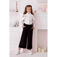 Школьные брюки кюлоты для девочки черные. Школьная форма 128-152 р, фото 1
