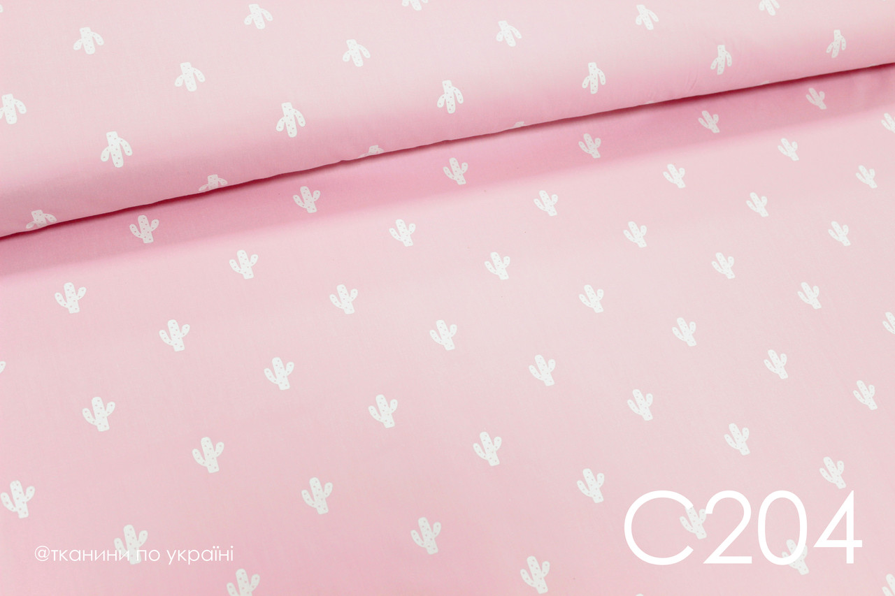 Ткань сатин Кактусы на розовом