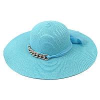 Женская шляпа с цепочкой голубая 131576