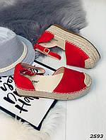 Женские стильные босоножки красные, фото 1