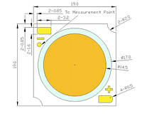 Мощный светодиод 57Вт 36вольт 1440 мА 4500К 7260лм PROLIGHT PACK-57FWL-BC8N COB 10927