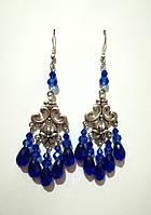 Серьги из Чешского Хрусталя, цвет синий, тм Satori \ S - 0197
