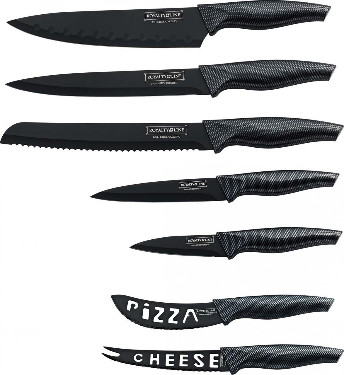 Набор кухонных ножей Royalty Line RL-CB7 с антипригарным покрытием ручка Carbon и керамической овощечисткой