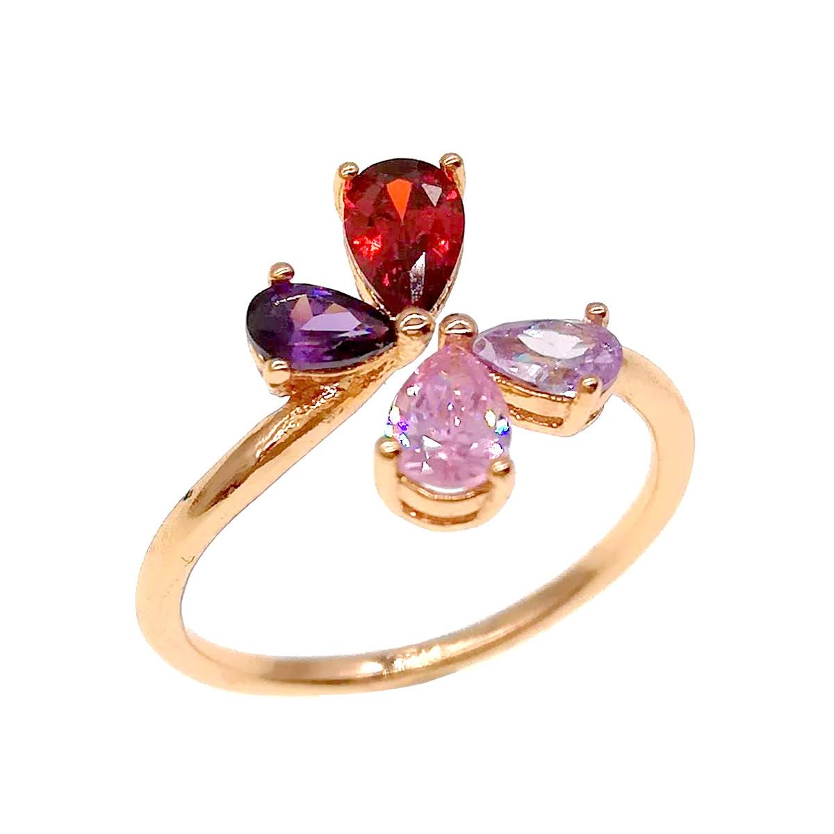 Кольцо Xuping с красным, розовым и фиолетовыми фианитами (куб. цирконием), из медицинского золота, в позолоте,