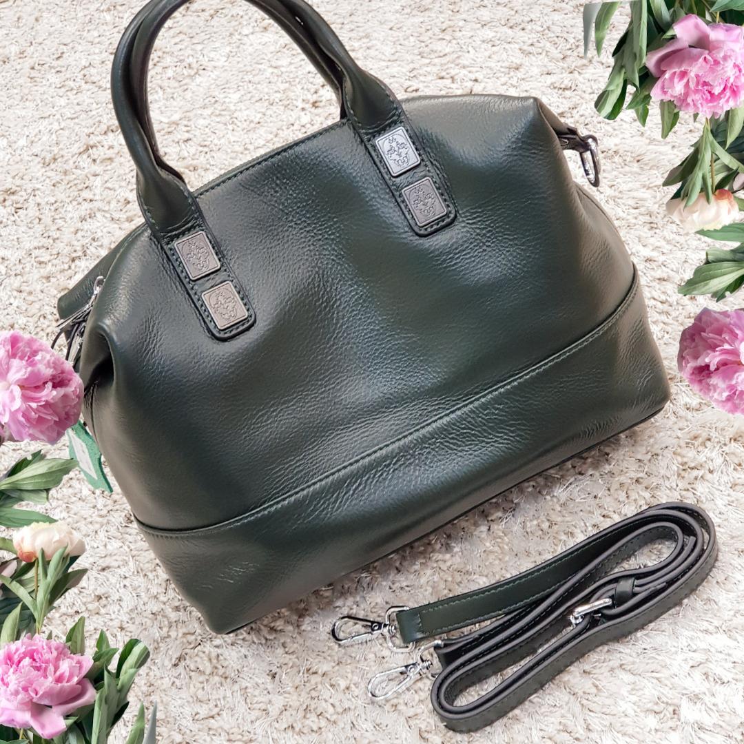Женская малахитовая сумочка из натуральной кожи