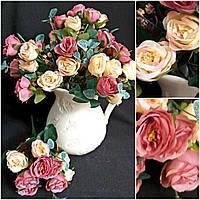 Милые розы в букете для интерьера, 5 веток, выс. 33 см., 55/45 (цена за 1 шт. + 10 гр.)
