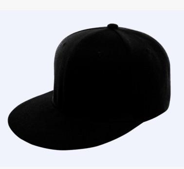 Чистая чёрная кепка текстиль без надписей с прямым козырьком  Snapback для лого пустышка регулируемая